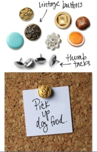 Vintage Buttons into Push Pins - Cool !